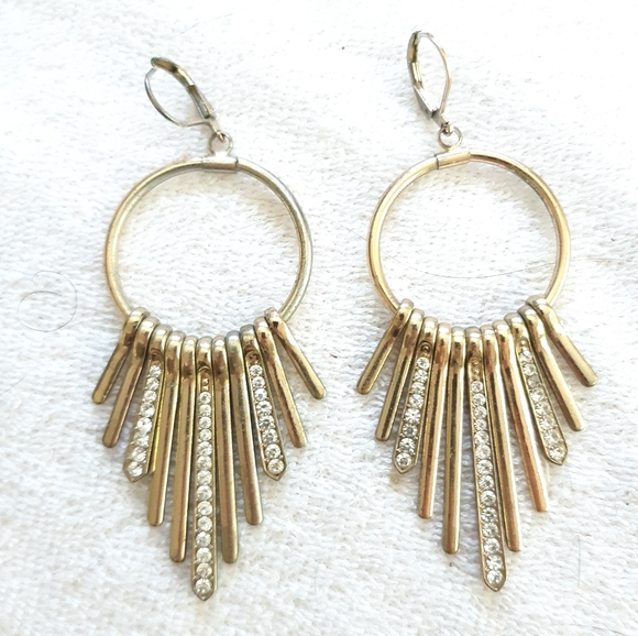 Saks Fringe Dangling Rhinestone Earrings